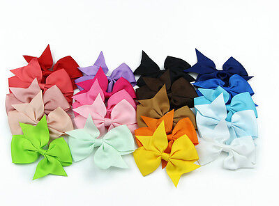 20pc Handmade Bow Hair Clip Alligator Clips Girls Ribbon Kids Sides Accessories