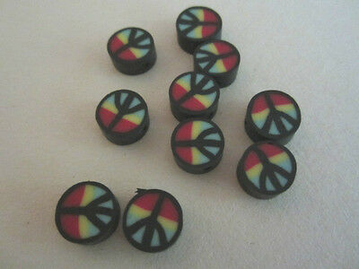 Black Red Green & Yellow Fimo Clay Rasta Peace Sign Beads 10mm 15pc