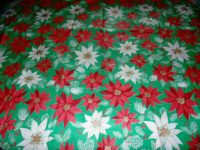 """Vintage Christmas Flannel Back Vinyl Tablecloth Green Red Poinsettia 59"""" Round"""