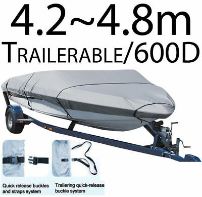 4.2-4.8m SHOREMASTER BOAT COVER TRAILERABLE HEAVY DUTY 600D MARINE GRADE (66532)