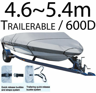 4.6-5.4m SHOREMASTER BOAT COVER TRAILERABLE HEAVY DUTY 600D MARINE GRADE (66533)