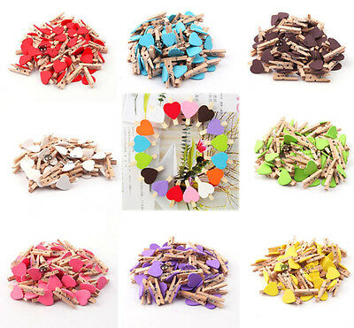 12pcs Mini Wooden Love Heart Pegs Clothes Photo Paper Pin Clothespin Wood Clips