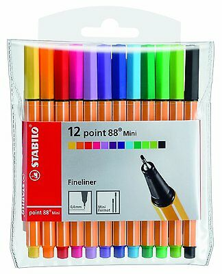 Stabilo Point 88 Mini Fineliner Pigment Liner Assorted Colours (Wallet Of 12)