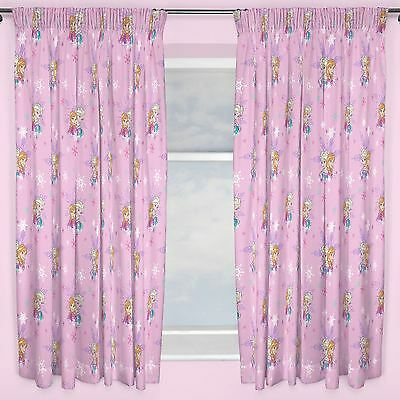 """Disney Frozen 'magic' Curtains In Two Drop Lengths 54"""" Or 72"""" New Girls Bedroom"""