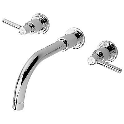 Hudson Reed Tec Lever 3-Hole Basin Mixer Tap Wall Mounted Chrome