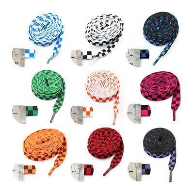 10mm FLAT WIDE 110cm CHEQUERED SHOE LACES *13 COLOURS* TRAINERS  CHECKERED LACE