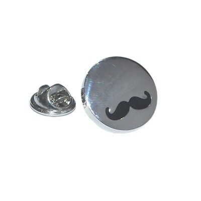 Silver & Black Highly Polished Moustached Design Lapel Pin Badge Present New