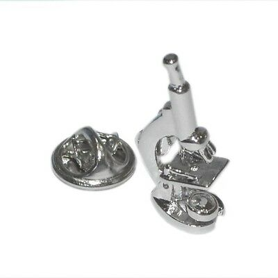 Silver Microscope Lapel Pin Badge Science Biology Chemistry Cells Scientist New