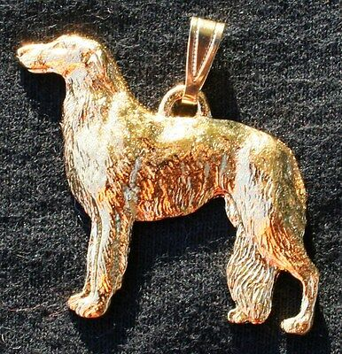 BORZOI Dog 24K Gold Plated Pewter Pendant Jewelry USA Made