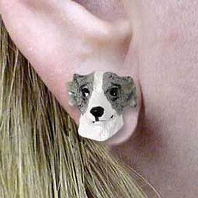 Whippet Grey Tiny One Dog Head Post Earrings Jewelry