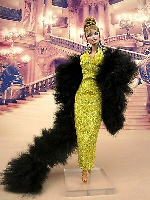Eaki Evening Fur Gold Dress Outfit Gown Fits Silkstone Barbie Fashion Royalty FR