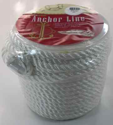 """Unicord Twisted Nylon Anchor Line Rope 1/2"""" x 150 Ft with Thimble 16633"""