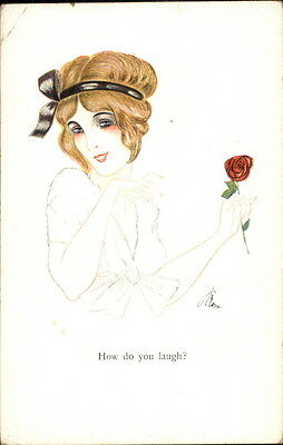 ART DECO Beautiful Woman Holding Rose  HOW DO YOU LAUGH Postcard