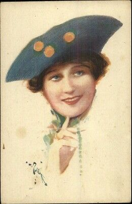 ART DECO - Italian - Beautiful Woman's Face Unusual Hat - Postcard