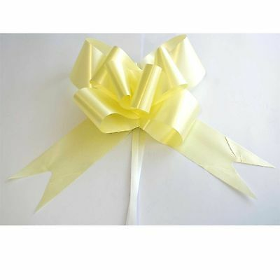 5 Pull Bow LIGHT YELLOW Ribbons Easter Birthday Present Gift Decorations 30mm