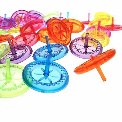 """40 New 1"""" Mix Lot Spinning Top Spin Clear Transparent Color Plastic Kid party"""