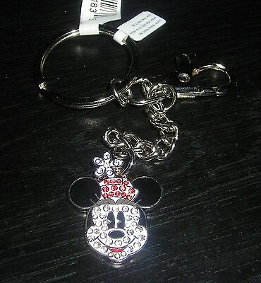 Disney Minnie Mouse Face Metal Keychain New