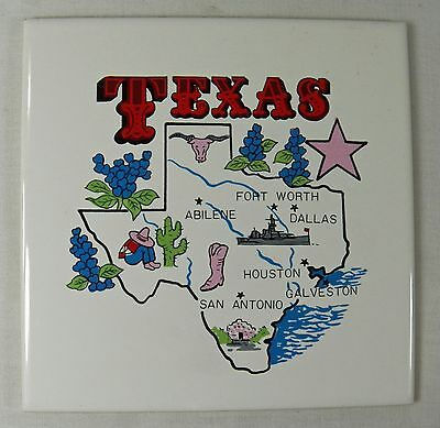 """Wall Tile Trivet TEXAS State Map & Features DK Made in Japan 6"""" Ceramic"""