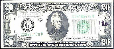1934 B $20  Federal Reserve Note -Chicago