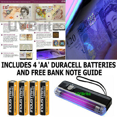 Ultraviolet Money Checker Bank Note Detector Built-in Torch & 4 'AA' Batteries