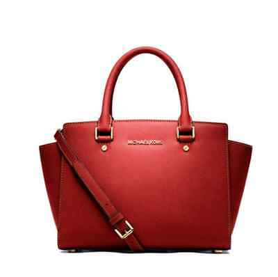 8b53387263d01 Michael Kors Selma Medium Saffiano Leather Satchel Handbag Tote Mandarin