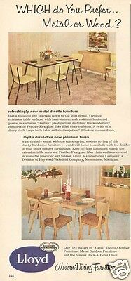 1950s vintage LLOYD Modern Dining Furniture DINETTE SET Table Chairs RETRO Ad