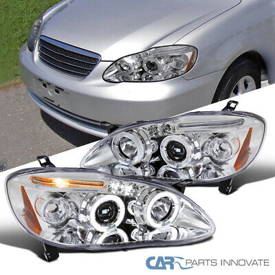 FOR 03-08 TOYOTA Corolla Black LED Halo Projector Headlights+H1