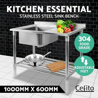 Cefito 1829x610mm Commercial 430 Stainless Steel Kitchen Bench Food Prep Table