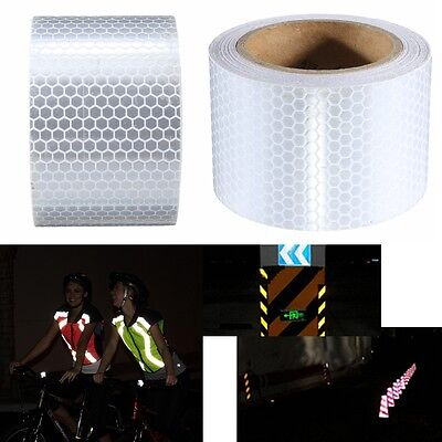 5M Silver Warning Reflective Safety Tape Roll Adhesive Sticker For Trucks Car