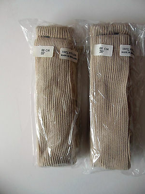 Girls Nylon Ribbed Tights, Light Beige, Age 8-9 years, 2 pair pack