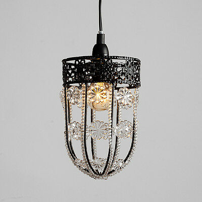 Modern Black Acrylic Crystal Floral Ceiling Pendant Light Fitting Chandelier NEW