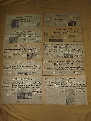 VINTAGE LOT 6 Wwii 10 Old 1940S The Saratogian Newspapers