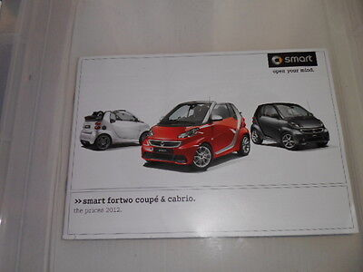 Smart Fortwo Pulse Passion & Brabus Xclusive Comprehensive Prices Brochure 2012
