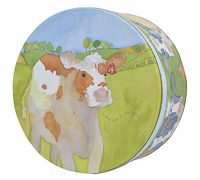 Barley Farm Cows in Pasture Emma Ball Collectable Large Round Cake Tin New