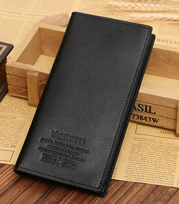 Long Casual Black Leather Mens Wallet Pockets Card Clutch Cente Bifold Purse