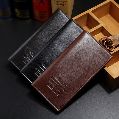 Men's Leather Casual Bifold Long Wallet Pockets Card Clutch Cente Holder Purse