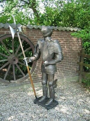 Authentic Knight Suit Of Armour halberd and stand 193cm black