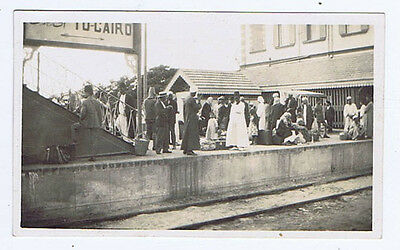 EGYPT Passengers on the Platform of a Railway Station - Vintage Photograph c1930