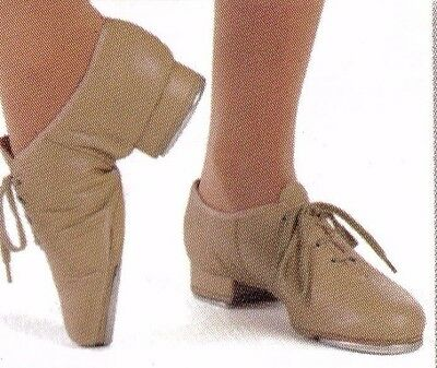 new/box All Leather Jazz tap Oxford Dance Shoes Tan Ladies szs Great sound 3525