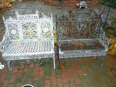 "Antique 19C Pair Of Cast Iron Benches  Signed "" Peter Timmes Son  Brooklyn NY"""
