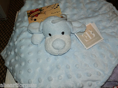 Elegant Baby Security Blanket Blue Puppy Dog Blue Embossed Dots Velour Soft Boy