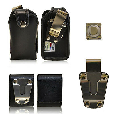 Rugged Genuine Leather Case for GreatCall Jitterbug 5 Flip phone.