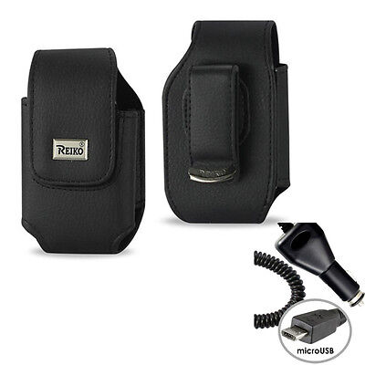Vertical Leather Case, car charger for GreatCall Jitterbug 5 Flip phone.