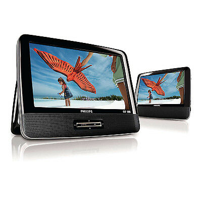 """9"""" Philips Widescreen Portable Black Travel Car DVD Player w/ Speaker  PD9012/37"""