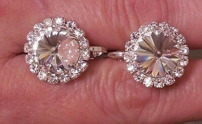 NEW Rhinestone Earrings Competion Jewelry Show Choir Dance CrystalCluster CLIPON
