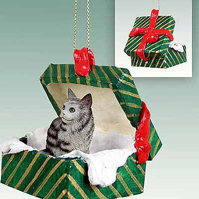 Maine Coon Silver Cat Green Gift Box Holiday Christmas ORNAMENT