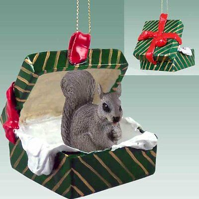 SQUIRREL Green Gift Box Holiday Christmas ORNAMENT