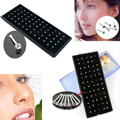 60pcs Stainless Steel Crystal Rhinestone Nose Ring Stud Body Piercing Jewelry