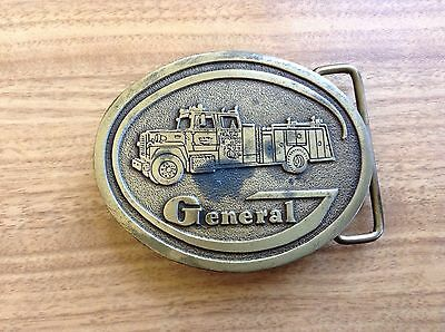 Vtg Hit Line General Fire Apparatus Brass Fire Truck Belt Buckle Rare