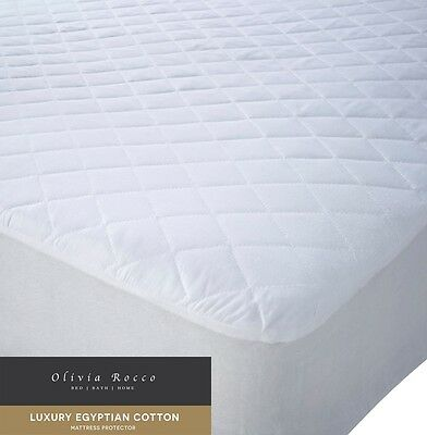 Luxury Quilted Egyptian Cotton Mattress Protector, Single Double King Super King
